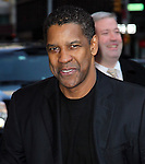 NEW YORK, NY - FEBRUARY 07: Actor Denzel Washington arrives to 'Late Show with David Letterman' at Ed Sullivan Theater on February 7, 2012 in New York City.