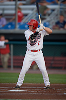 Auburn Doubledays right fielder Austin Guibor (2) at bat during a game against the State College Spikes on August 21, 2017 at Falcon Park in Auburn, New York.  Auburn defeated State College 6-1.  (Mike Janes/Four Seam Images)