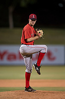 AZL Angels relief pitcher Christian Aragon (43) delivers a pitch during an Arizona League game against the AZL Athletics at Tempe Diablo Stadium on June 26, 2018 in Tempe, Arizona. The AZL Athletics defeated the AZL Angels 7-1. (Zachary Lucy/Four Seam Images)