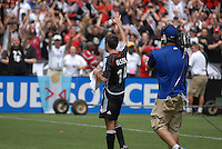DC United midfielder Ben Olsen (14) salutes the fans after the victory. Ben Olsen scored the first hat trick of his career against the NY Red Bulls. DC United defeated the New York Red Bulls, 4-2, at RFK Stadium in Washington DC, Sunday, June 10 , 2007.