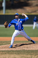 Saint Louis Billikens starting pitcher Josh Moore (12) in action against the Davidson Wildcats at Wilson Field on March 28, 2015 in Davidson, North Carolina. (Brian Westerholt/Four Seam Images)