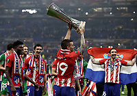 Club Atletico de Madrid's Lucas Hernandez holds up the trophy at the end of the UEFA Europa League final football match between Olympique de Marseille and Club Atletico de Madrid at the Groupama Stadium in Decines-Charpieu, near Lyon, France, May 16, 2018. Club Atletico de Madrid won 3-0.<br /> UPDATE IMAGES PRESS/Isabella Bonotto