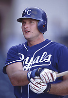 Mike Sweeney of the Kansas City Royals during a 2001 season MLB game at Angel Stadium in Anaheim, California. (Larry Goren/Four Seam Images)