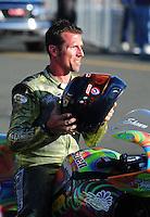 Jul. 24, 2009; Sonoma, CA, USA; NHRA pro stock motorcycle rider Shawn Gann during qualifying for the Fram Autolite Nationals at Infineon Raceway. Mandatory Credit: Mark J. Rebilas-