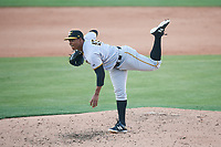 Bradenton Marauders relief pitcher Ronny Agustin (45) delivers a pitch during the first game of a doubleheader against the Lakeland Flying Tigers on April 11, 2018 at Publix Field at Joker Marchant Stadium in Lakeland, Florida.  Lakeland defeated Bradenton 5-4.  (Mike Janes/Four Seam Images)