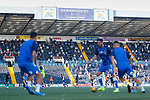 Kilmarnock players warming up in front of the Chadwick Stand. Kilmarnock 2 Ayr United 0, Scottish Championship, August 2nd 2021. Following Kilmarnock's relegation in 2020-21, the first game of the new season is the Ayreshire Derby, the first league match between the teams in 28 years. Due to relaxation of Covid restrictions the match was played in front of a crowd of 3200 Kilmarnock fans. The game was shown live on BBC Scotland.