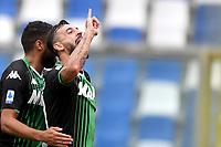 Francesco Caputo of US Sassuolo celebrates after scoring the goal of 1-0 for his side <br /> Reggio Emilia 22/09/2019 Stadio Citta del Tricolore <br /> Football Serie A 2019/2020 <br /> US Sassuolo - SPAL <br /> Photo Andrea Staccioli / Insidefoto