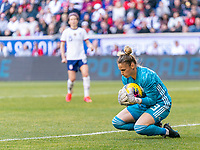 HARRISON, NJ - MARCH 08: Sandra Panos #13 of Spain makes a save during a game between Spain and USWNT at Red Bull Arena on March 08, 2020 in Harrison, New Jersey.