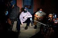 Protesters and leaders from the Black community met with mayor Bill Peduto on his doorstep before clashing with Pittsburgh Police near Mellon Park after being told to leave the Point Breeze neighborhood on Wednesday August 19, 2020 in Pittsburgh, Pennsylvania.  (Photo by Jared Wickerham/Pittsburgh City Paper)