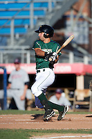 Jamestown Jammers second baseman Anthony Gomez #9 during the first game of a double header against the Hudson Valley Renegades at Russell Diethrick Park on August 6, 2012 in Jamestown, New York.  Hudson Valley defeated Jamestown 4-2.  (Mike Janes/Four Seam Images)