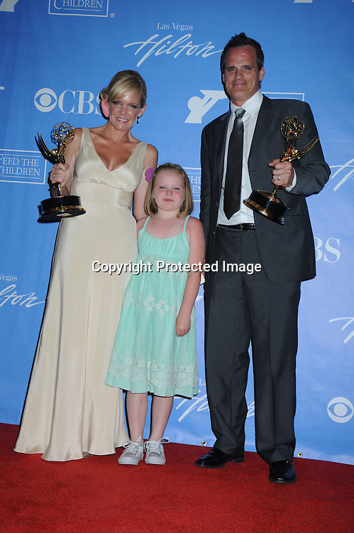winners for best actor and actress Maura West, daughter Kate and Michael Park posing in the press room from the Daytime Emmy Awards on June 27, 2010 at the Hilton at Las Vegas in Nevada.