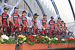 BMC Racing Team riders on stage at the Team Presentation Ceremony before the 2012 Tour de France in front of The Palais Provincial, Place Saint-Lambert, Liege, Belgium. 28th June 2012.<br /> (Photo by Eoin Clarke/NEWSFILE)