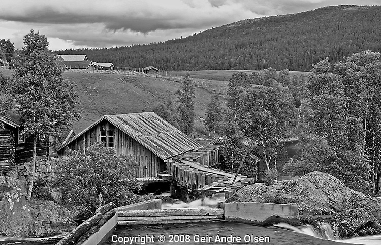 An old sawmill at lake Atna in the Norwegian mountains.