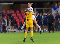 WASHINGTON, DC - AUGUST 25: Aubrey Bledsoe #1 of the Washington Spirit celebrates with teammate Tori Huster #23 during a game between Orlando Pride and Washington Spirit at Audi Field on August 25, 2019 in Washington, DC.