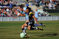 Marta Vieira da Silva (10) of the Los Angeles Sol shoots and scores her first goal. The Los Angeles Sol defeated Sky Blue FC 2-0 during a Women's Professional Soccer match at TD Bank Ballpark in Bridgewater, NJ, on April 5, 2009. Photo by Howard C. Smith/isiphotos.com