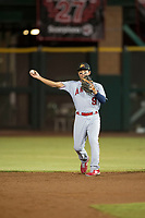 Mesa Solar Sox second baseman Jahmai Jones (9), of the Los Angeles Angels organization, throws during an Arizona Fall League game against the Scottsdale Scorpions on October 9, 2018 at Scottsdale Stadium in Scottsdale, Arizona. The Solar Sox defeated the Scorpions 4-3. (Zachary Lucy/Four Seam Images)