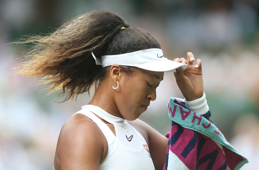 Naomi Osaka (JPN) during her match against Yulia Putintseva (KAZ) in their Ladies' Singles First Round match<br /> <br /> Photographer Rob Newell/CameraSport<br /> <br /> Wimbledon Lawn Tennis Championships - Day 1 - Monday 1st July 2019 -  All England Lawn Tennis and Croquet Club - Wimbledon - London - England<br /> <br /> World Copyright © 2019 CameraSport. All rights reserved. 43 Linden Ave. Countesthorpe. Leicester. England. LE8 5PG - Tel: +44 (0) 116 277 4147 - admin@camerasport.com - www.camerasport.com