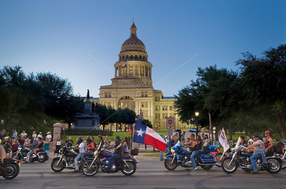 The Republic of Texas (ROT) Biker Rally celebrates it's annual procession ride to the State Capitol of Texas