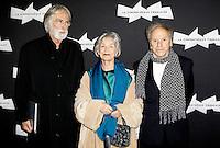 MICHAEL HANEKE, EMMANUELLE RIVA ET JEAN-LOUIS TRINTIGNANT - AVANT-PREMIERE DU FILM 'AMOUR' ET HOMMAGE A JEAN-LOUIS TRINTIGNANT, A LA CINEMATHEQUE FRANCAISE.