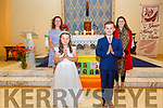 Pupils from Filemore NS who made their First Holy Communion on Saturday pictured front l-r; Aoibhinn O'Sullivan, Callum Wynton, back l-r; Norah Golden(Principal) & Emma O'connor (Teacher).