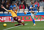 Motherwell v St Johnstone….07.05.16  Fir Park, Motherwell<br />Steven MacLean shoots for goal<br />Picture by Graeme Hart.<br />Copyright Perthshire Picture Agency<br />Tel: 01738 623350  Mobile: 07990 594431