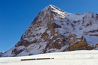 Jungfraujoch train at in front of The Eiger Mountains. Swiss Alps Switzerland