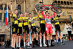 Red Jersey Primoz Roglic (SLO) with Jumbo-Visma team mates after winning Stage 21 and La Vuelta d'Espana 2021, an individual time trial running 33.8km from Padron to Santiago de Compostela, Spain. 5th September 2021.    <br /> Picture: Luis Angel Gomez/Photogomezsport | Cyclefile<br /> <br /> All photos usage must carry mandatory copyright credit (© Cyclefile | Luis Angel Gomez/Photogomezsport)