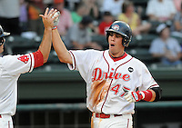 July 25, 2009: Greenville Drive designated hitter Kade Keowen (47) is congratulated after hitting a home run against the Delmarva Shorebirds in a game at Fluor Field at the West End in Greenville, S.C. Photo by: Tom Priddy/Four Seam Images
