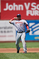 Harrisburg Senators shortstop Luis Garcia (21) throws to first base during an Eastern League game against the Erie SeaWolves on June 30, 2019 at UPMC Park in Erie, Pennsylvania.  Erie defeated Harrisburg 4-2.  (Mike Janes/Four Seam Images)