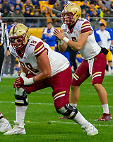 Boston College offensive tackle Tyler Vrabel (78) and quarterback Dennis Grosel (6) await the snap. The Boston College Eagles defeated the Pitt Panthers 26-19 in the football game played at Heinz Field, Pittsburgh Pennsylvania on November 30, 2019.