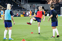 Leah Williamson of England Women plays keep ups during the Women's international friendly match between England Women and Australia at Craven Cottage, London, England on 9 October 2018. Photo by Carlton Myrie / PRiME Media Images.