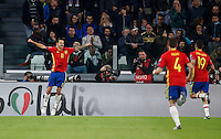 Spain's Vitolo, left, celebrates with teammates after scoring during the Fifa World Cup 2018 qualification soccer match between Italy and Spain at Turin's Juventus Stadium, October 6, 2016. The game ended 1-1.<br /> UPDATE IMAGES PRESS/Isabella Bonotto