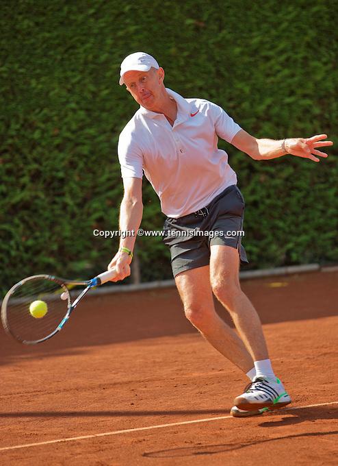 Netherlands, Amstelveen, August 22, 2015, Tennis,  National Veteran Championships, NVK, TV de Kegel,  Men's  60+, Martin Koek<br /> Photo: Tennisimages/Henk Koster