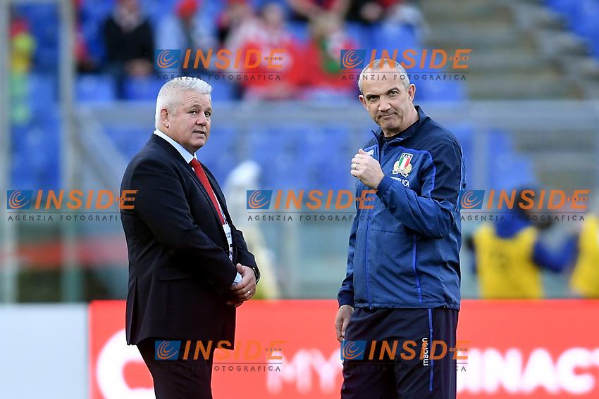Warren Gatlandd, Wales coach, and Conor O'Shea, Italy coach.<br />  <br /> Roma 9-02-2019 Stadio Olimpico<br /> Rugby Six Nations tournament 2019  <br /> Italy - Wales <br /> Foto Antonietta Baldassarre / Insidefoto