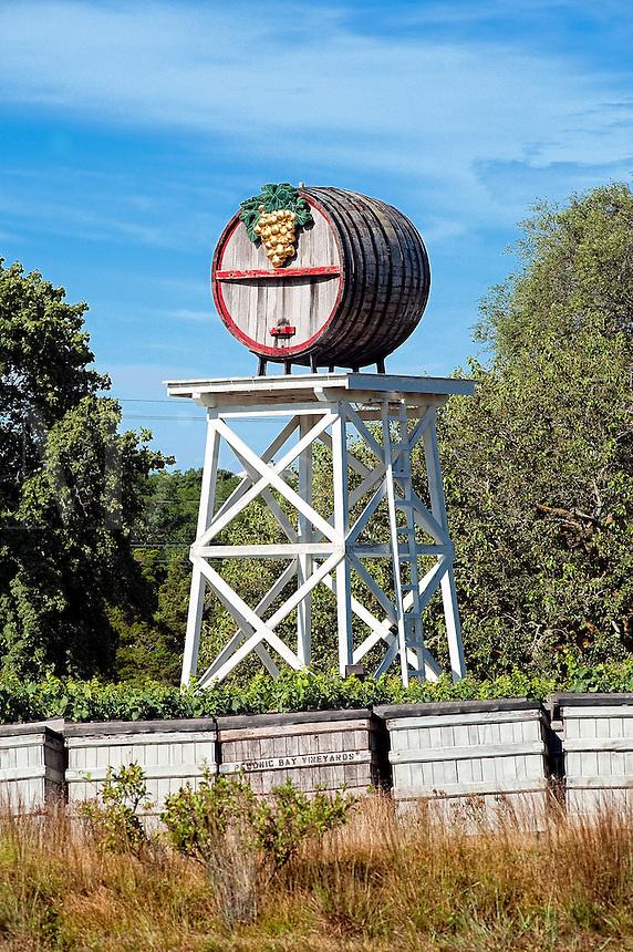 Giant decorative wine barrel at the Truro Vineyards, Truro, Cape Cod, MA, USA