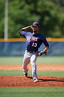 GCL Twins relief pitcher Frandy Torres (13) delivers a pitch during a game against the GCL Rays on August 9, 2018 at Charlotte Sports Park in Port Charlotte, Florida.  GCL Twins defeated GCL Rays 5-2.  (Mike Janes/Four Seam Images)