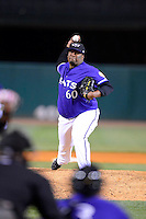 Louisville Bats pitcher Jose Diaz #60 during a game against the Indianapolis Indians on April 19, 2013 at Louisville Slugger Field in Louisville, Kentucky.  Indianapolis defeated Louisville 4-1.  (Mike Janes/Four Seam Images)
