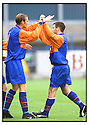 26th August 2000          Copyright Pic : James Stewart . File Name : stewart04-stirling v queens park              .FRANKIE CARROLL (right) IS CONGRATULATED BY MARK GALLAGHER AFTER SCORING QUEENS PARK'S GOAL.....Payments to :-.James Stewart Photo Agency, Stewart House, Stewart Road, Falkirk. FK2 7AS      Vat Reg No. 607 6932 25.Office : 01324 630007        Mobile : 0421 416997.E-mail : JSpics@aol.com.If you require further information then contact Jim Stewart on any of the numbers above.........