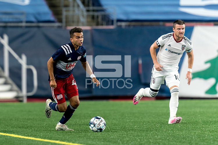 FOXBOROUGH, MA - SEPTEMBER 09: Colby Quinones #41 of New England Revolution II brings the ball forward during a game between Chattanooga Red Wolves SC and New England Revolution II at Gillette Stadium on September 09, 2020 in Foxborough, Massachusetts.