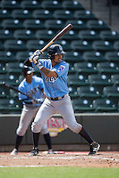 Humberto Arteaga (23) of the Wilmington Blue Rocks at bat against the Winston-Salem Dash at BB&T Ballpark on June 5, 2016 in Winston-Salem, North Carolina.  The Dash defeated the Blue Rocks 4-0.  (Brian Westerholt/Four Seam Images)