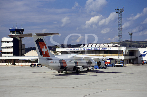 Sarajevo, Bosnia and Herzegovina. The building of the Sarajevo Oarajevs International Airport; Swiss aircraft.