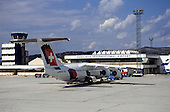 Sarajevo, Bosnia and Herzegovina. The building of the Sarajevo Oarajevs International Airport; Swiss aircraft.
