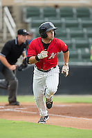 Tyler Sullivan (5) of the Kannapolis Intimidators hustles down the first base line against the Charleston RiverDogs at Kannapolis Intimidators Stadium on August 3, 2016 in Kannapolis, North Carolina.  The Intimidators defeated the RiverDogs 8-4.  (Brian Westerholt/Four Seam Images)