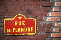 """Europe/France/Nord-Pas-de-Calais/59/Nord/Dunkerque/Malo-les-Bains: Détail d'une plaque de la """"rue de Flandres"""""""
