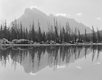 """""""Rundle Reflection In Vermillion Lake"""" <br /> Banff National Park; Alberta, Canada<br /> <br /> An impressive mountain named Rundle rises cleanly from the surrounding terrain to look down on the town of Banff. Three bodies of water called Vermillion Lakes lay at the foot of this impressive limestone outcropping. Mount Rundle is one of the most recognizable features in Banff National Park and this day provided an opportunity to capture a photograph that emphasized both Mount Rundle and one of the Vermillion Lakes."""