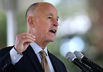 California Gov. Jerry Brown speaks at the 18th annual Lake Tahoe Summit at the Valhalla Estate in South Lake Tahoe, Ca., on Tuesday, Aug. 19, 2014. The event, which attracts government officials, scientists and educational and environmental agencies from California and Nevada, helps focus on environmental issues key to the preservation of the Lake Tahoe basin. (Las Vegas Review-Journal/Cathleen Allison)
