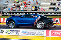 Sep 4, 2020; Clermont, Indiana, United States; NHRA factory stock driver Kim Shirley during qualifying for the US Nationals at Lucas Oil Raceway. Mandatory Credit: Mark J. Rebilas-USA TODAY Sports
