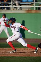 Potomac Nationals third baseman Kelvin Gutierrez (3) at bat during the first game of a doubleheader against the Salem Red Sox on May 13, 2017 at G. Richard Pfitzner Stadium in Woodbridge, Virginia.  Potomac defeated Salem 6-0.  (Mike Janes/Four Seam Images)