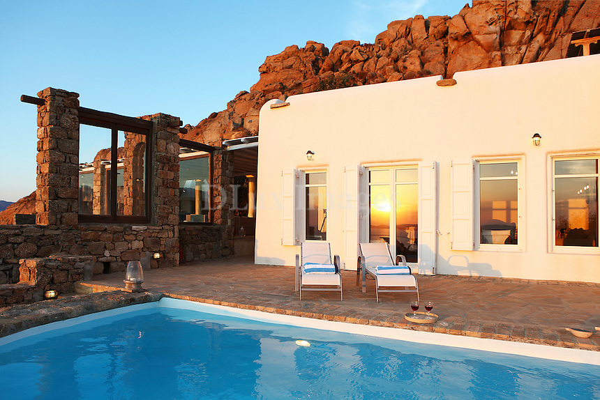 cycladic house with swimming pool