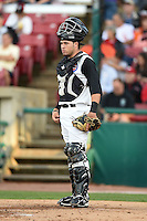 Kane County Cougars catcher Victor Caratini (2) during a game against the Quad Cities River Bandits on August 14, 2014 at Third Bank Ballpark in Geneva, Illinois.  Kane County defeated Quad Cities 4-1.  (Mike Janes/Four Seam Images)